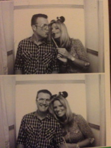 Odoro threw a very cool party with a photo booth where hubby Dave donned some funky glasses and I threw on some Minnie Mouse ears and lips.