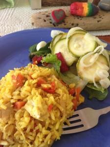 Arroz con pollo and homemade pickles.